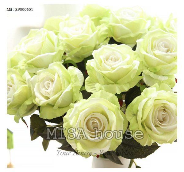 Cành hoa hồng nhung – hoa cao cấp màu xanh đẹp và lạ mắt , bông lớn