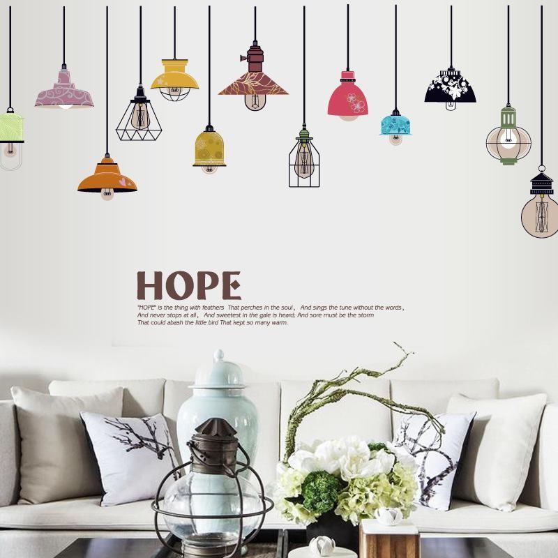 Tranh dán tường đèn treo trang trí- decal dán tường trang trí đẹp giá rẻ