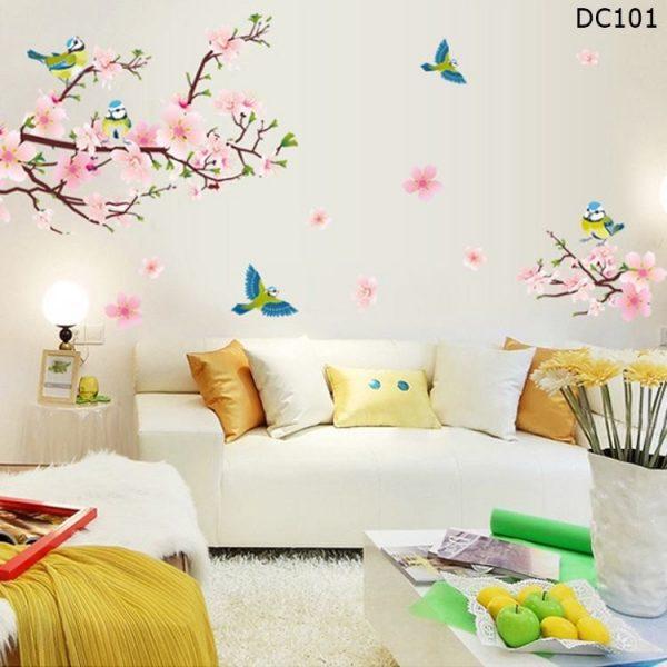 Tranh dán tường hoa đào chim én mùa xuân- decal dán tường trang trí đẹp giá rẻ DC101