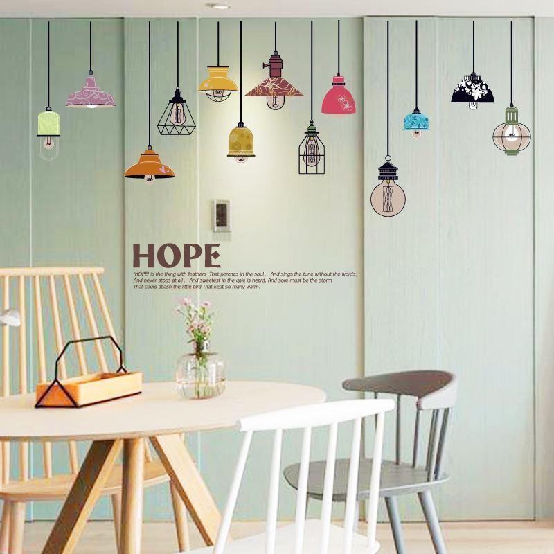 Tranh dán tường đèn treo trang trí- decal dán tường trang trí đẹp giá rẻ tphcm