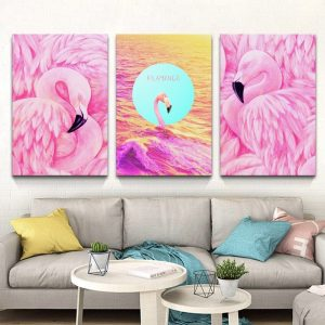 Tranh treo tường đẹp nghệ thuật hình chim hồng hạc - tranh treo tường phòng khách đẹp