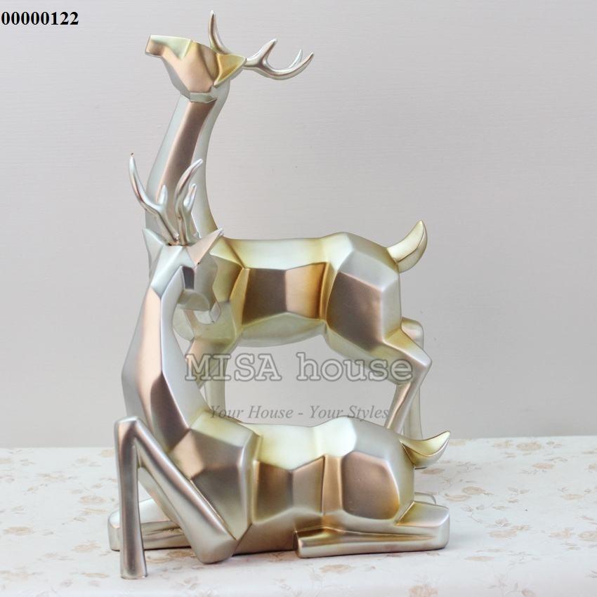 Bộ hươu bạc nghệ thuật cách điệu – đồ trang trí tủ kệ quà tặng tân gia ý nghĩa
