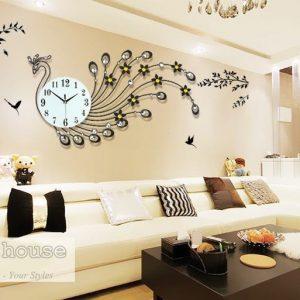 Đồng hồ treo tường hình công đuôi dài màu đen - đồng hồ treo tường phòng khách đẹp 1