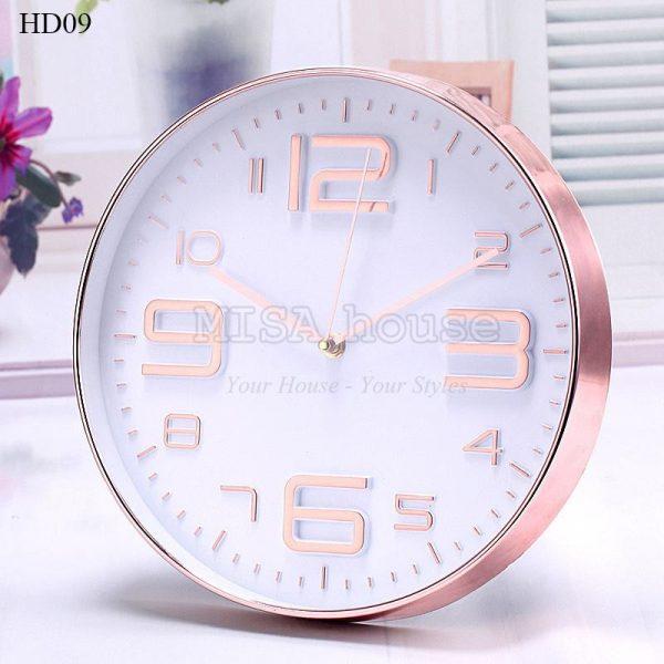 Đồng hồ treo tường mặt kính số cách điệu màu hồng – 30cm