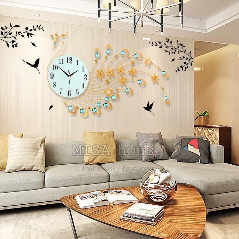 Đồng hồ treo tường phòng khách hình công đuôi dài 82cm