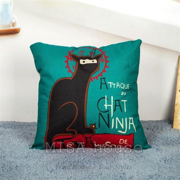 Vỏ gối sofa mèo đen Ninja – gối sofa trang trí phòng khách