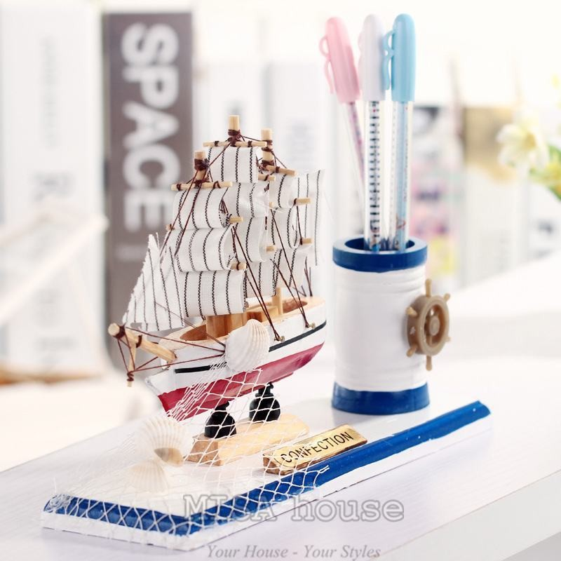 Hộp đựng bút thuyền - đồ trang trí chủ đề biển
