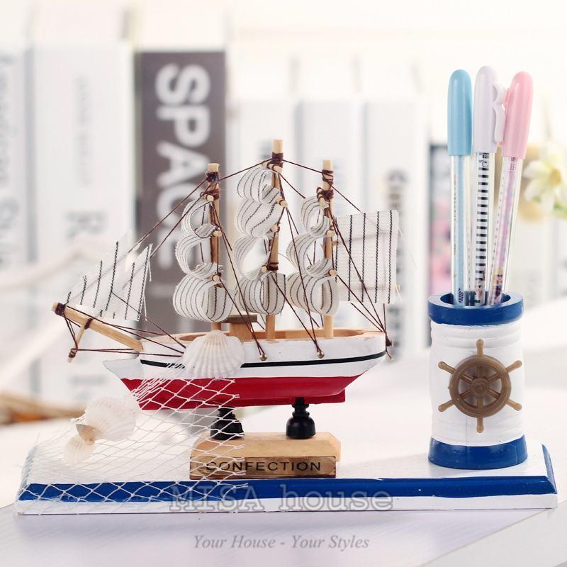 Hộp đựng bút thuyền – đồ trang trí chủ đề biển phong cách địa trung hải