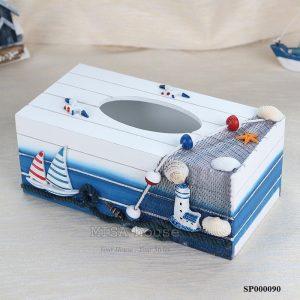 Hộp đựng khăn giấy gỗ cánh thuyền xanh trắng nổi 03 - đồ trang trí nhà chủ đề biển