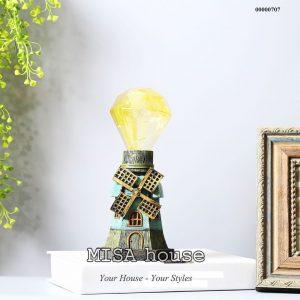 Mô hình cối xoay gió vintage có đèn- đồ trang trí phong cách giả cổ vintage
