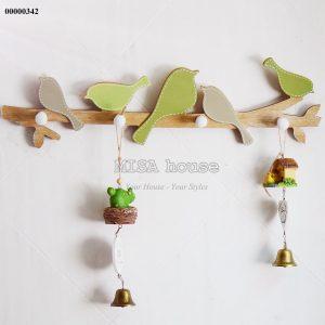 Móc treo gỗ hình chim sẻ xanh - móc treo chìa khóa hoặc quần áo trang trí nhà đẹp