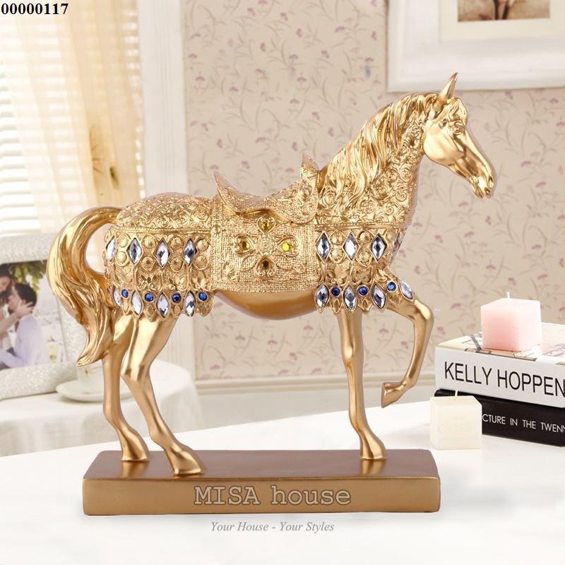 Ngựa vàng sơn tĩnh điện đính đá – quà tặng tân gia đẹp ý nghĩa