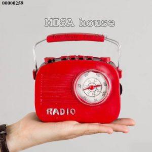 Mô hình đài Radio màu đỏ cổ cũ - đồ trang trí phong cách vintage