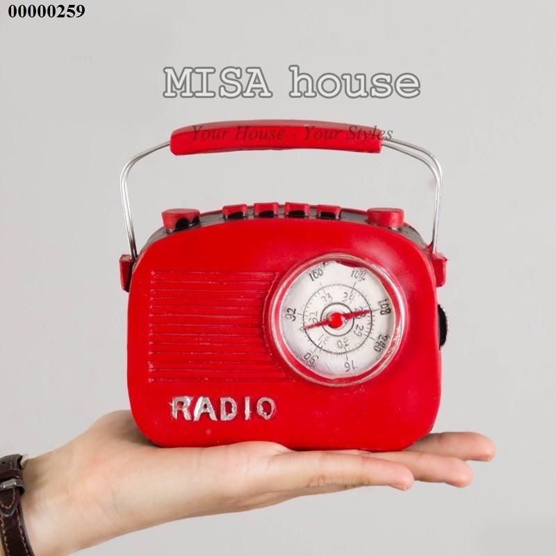 Mô hình đài Radio màu đỏ cổ cũ – đồ trang trí phong cách vintage