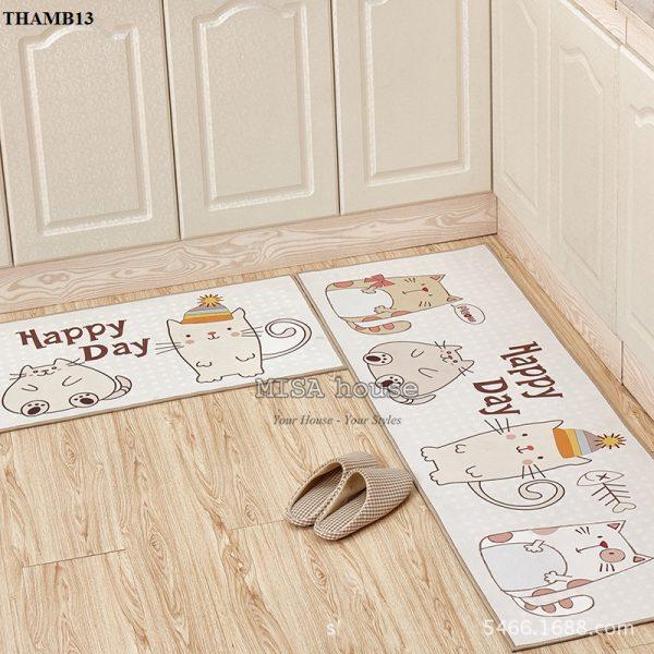 Bộ thảm bếp đẹp trang trí phòng bếp mèo ngày hạnh phúc dễ thương