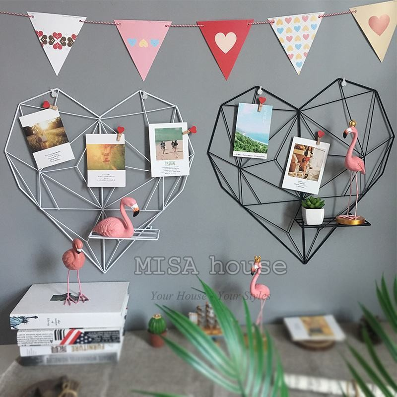 Trái tim sắt khung treo ảnh trang trí màu trắng trang trí nhà, phòng khách, trang trí bàn làm việc, bàn học