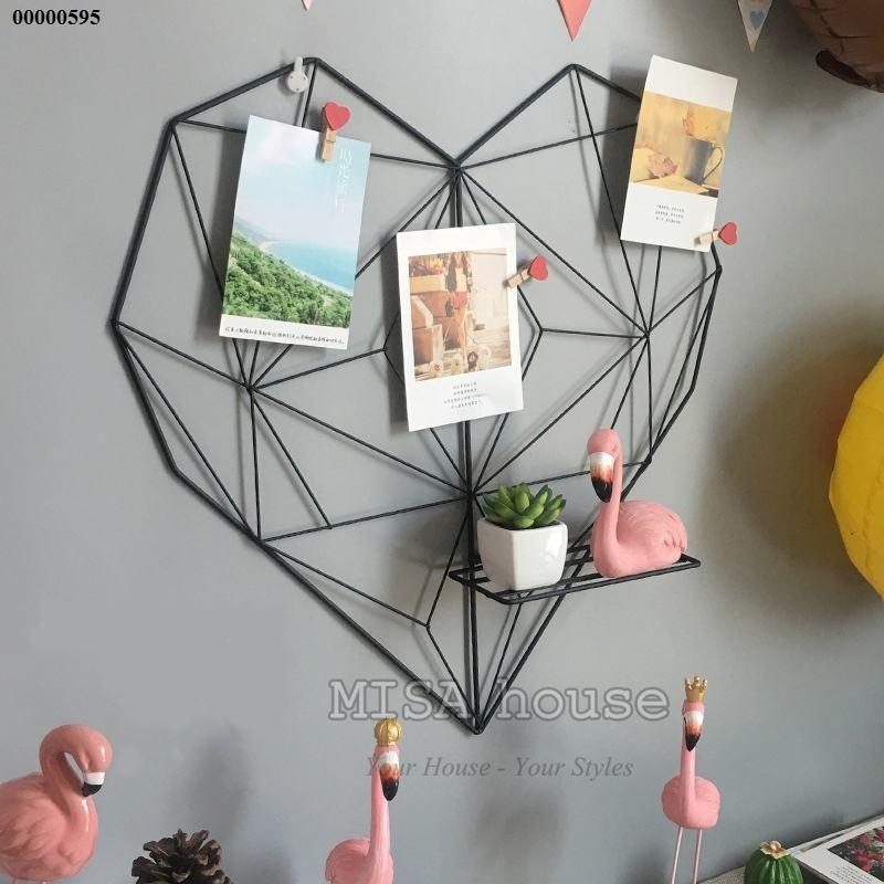 Trái tim sắt treo ảnh trang trí màu đen trang trí phòng khách trang trí phòng làm việc bàn học