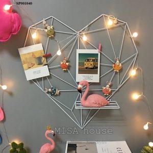 Trái tim sắt khung treo ảnh trang trí màu trắng trang trí nhà, phòng khách