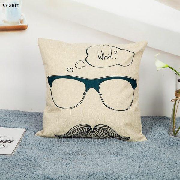 Vỏ gối sofa trang trí ghế sofa phòng khách hình ông lão mắt kính What