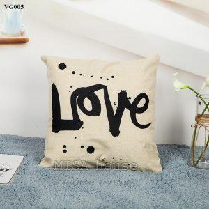 Vỏ gối sofa trang trí ghế sofa phòng khách hình Love đen