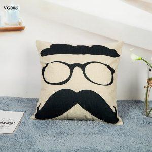 Vỏ gối sofa trang trí ghế sofa phòng khách hình mắt kính râu cách điệu