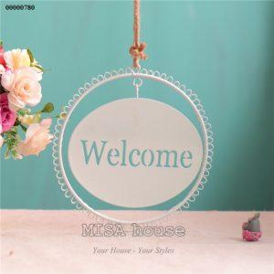 Bảng welcome treo cửa sắt trắng trang trí nhà, quán cafe, trà sữa, shop