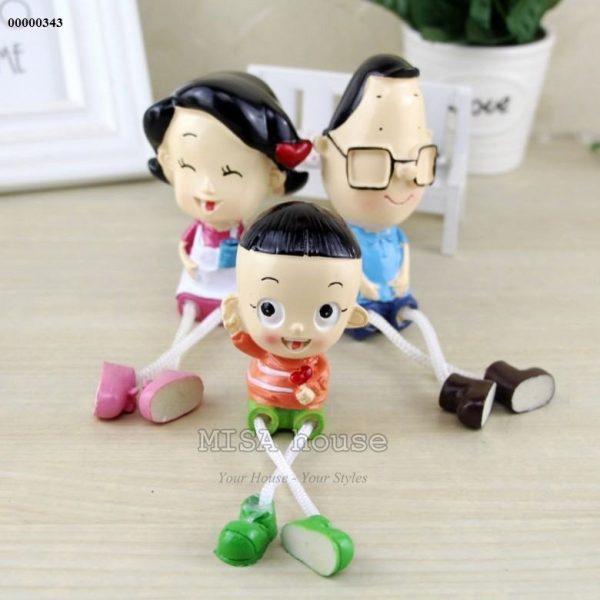 Bộ gia đình 3 người ba đầu nhỏ con đầu to trang trí nhà