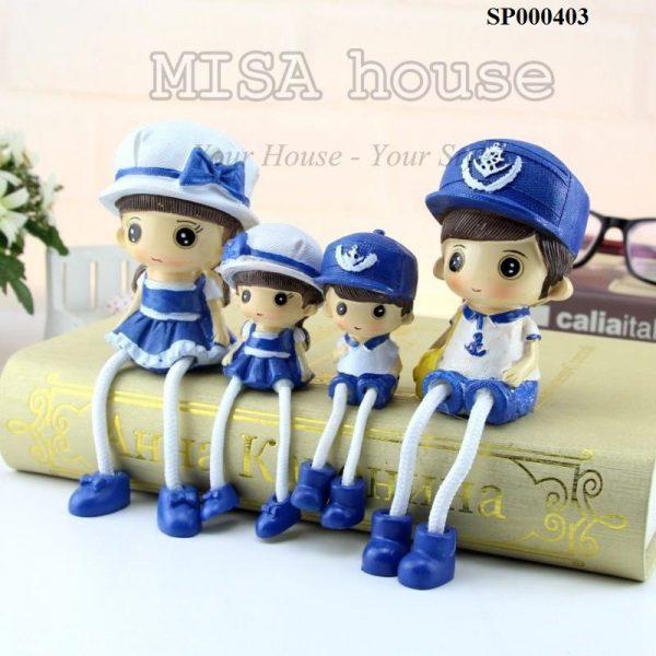 Bộ gia đình hải quân biển trang trí tủ kệ đồ trang trí phong cách địa trung hải