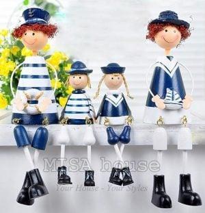Bộ gia đình hải quân 4 người ngồi - đồ trang trí tủ kệ đẹp phong cách biển