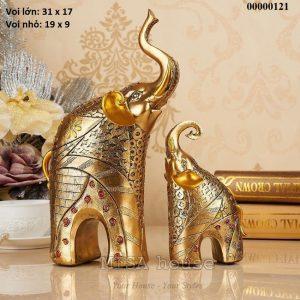 Cặp voi mạ vàng trang trí tủ kệ siêu đẹp - quà tặng tân gia ý nghĩa
