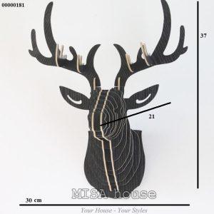 Đầu hươu gỗ ghép màu đen - đầu hươu nghệ thuật treo tường