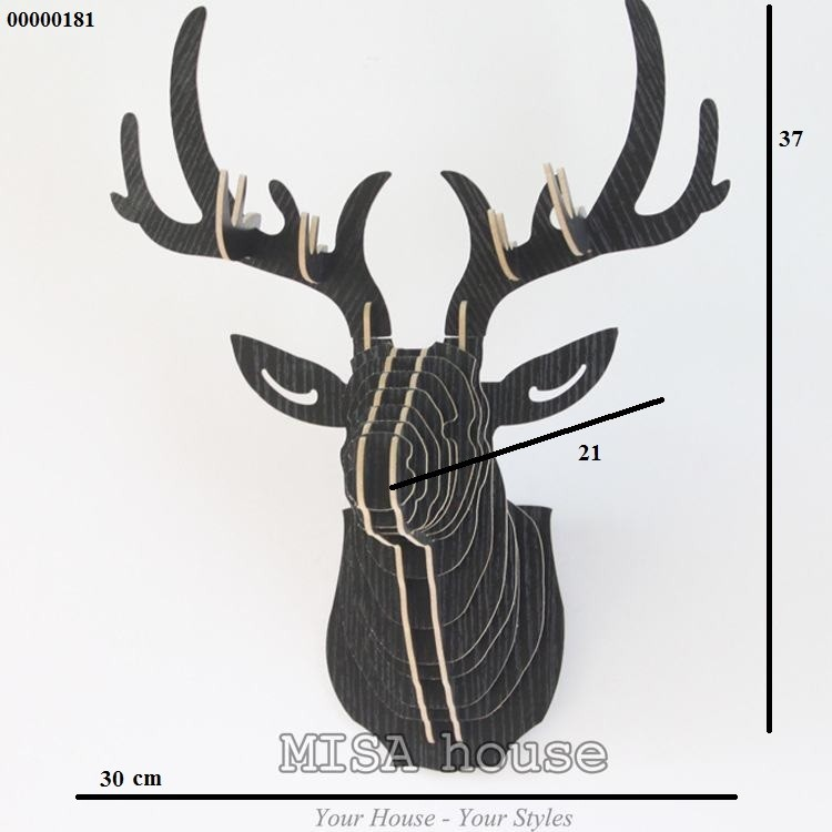 Đầu hươu gỗ ghép màu đen – đầu hươu nghệ thuật treo tường