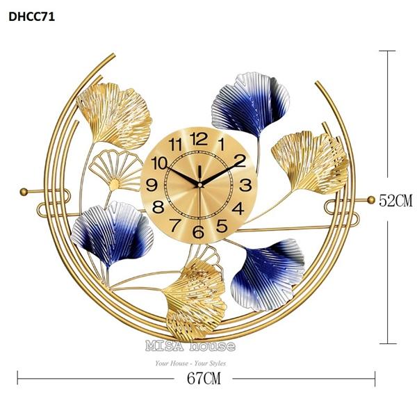 Kích thước đồng hồ treo tường đẹp cao cấp Lá sen ánh trăng màu vàng xanh - đồng hồ hiện đại kim trôi loại 1