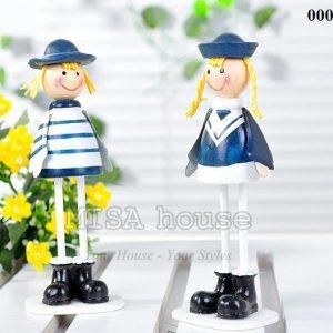 Bộ 2 bé lính hải quân gỗ đứng trang trí tủ kệ phong cách biển địa trung hải