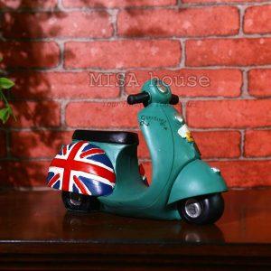 Xe vespa vintage màu xanh - Mô hình xe cổ phong cách cổ điển độc đáo màu cam