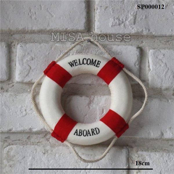 Phao thuyền welcome nhỏ trang trí màu đỏ – đồ trang trí phong cách biển địa trung hải