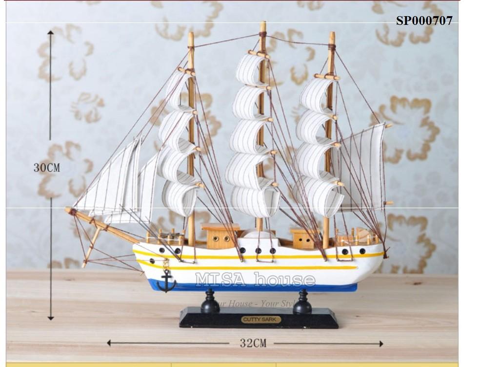 """Thuyền trắng xanh trang trí tủ kệ - trang trí shop """" thuận buồm xuôi gió"""" - quà tặng ngày khai trương"""