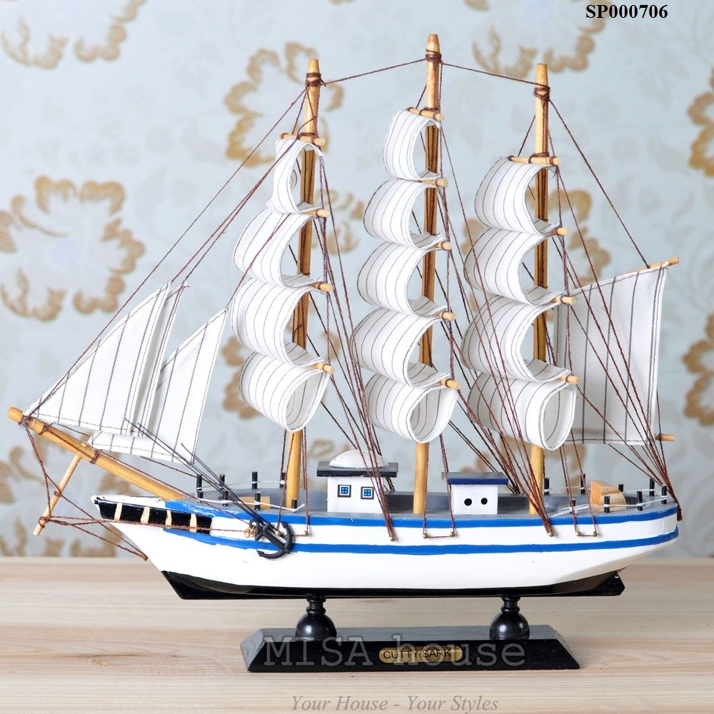 """Thuyền trắng xanh trang trí tủ kệ – trang trí shop """" thuận buồm xuôi gió"""" – quà tặng khai trương ý nghĩa"""