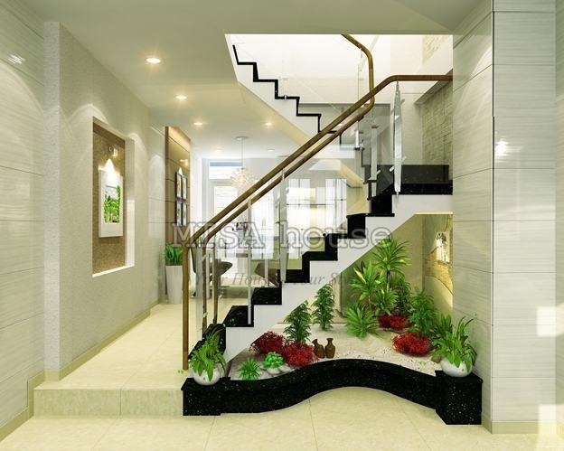 Cách trang trí cầu thang phòng khách
