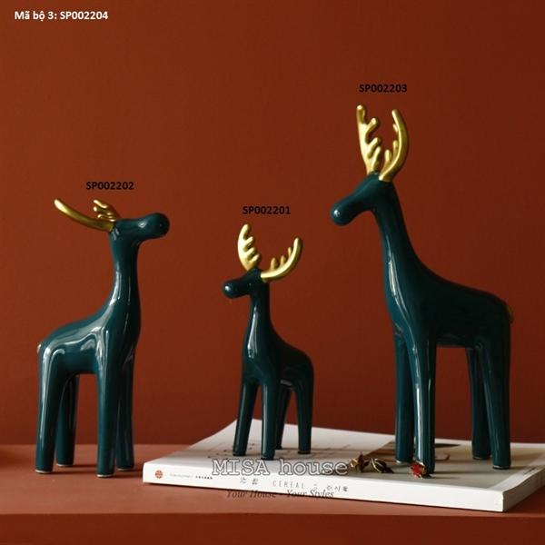 Tượng trang trí phòng khách gốm sứ hình hươu sừng vàng phong cách Bắc âu màu xanh đậm Morandi – Bộ 3 con