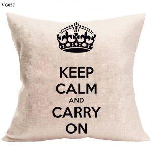 Vỏ gối sofa Keep Calm & Carry on - vỏ gối trang trí hiện đại