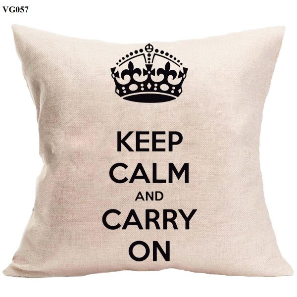 Vỏ gối sofa Keep Calm & Carry on – vỏ gối trang trí hiện đại