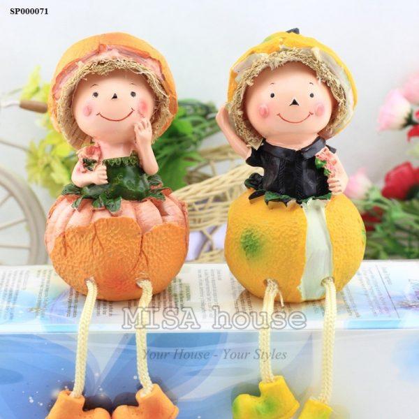 Bộ 2 bé cam quýt trang trí tủ kệ phòng khách – bếp