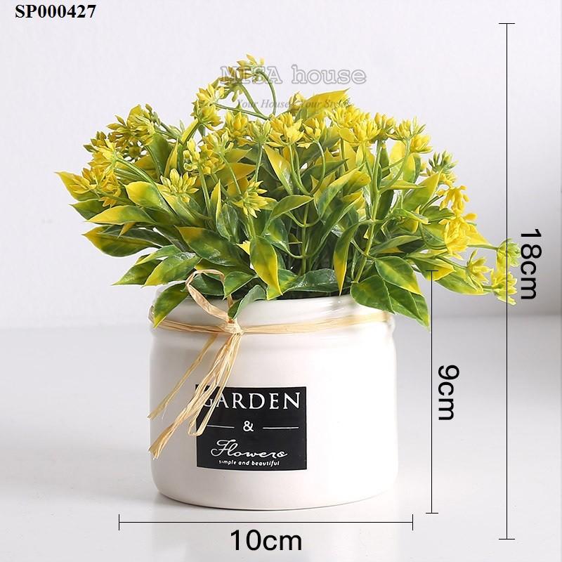 Chậu hoa để bàn cách điệu Garden màu vàng trang trí tủ kệ phòng khách – nhà đẹp, bàn ăn