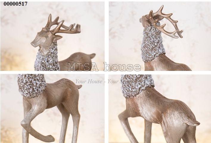 Chi tiết Cặp hươu bạc nghệ thuật cao cấp trang trí tủ kệ đẹp - quà tặng tân gia 02