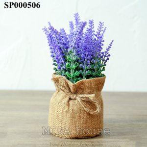 Hoa lavender tím vải bố chậu nhỏ trang trí tủ kệ - bàn - quán cafe - shop - cửa hàng