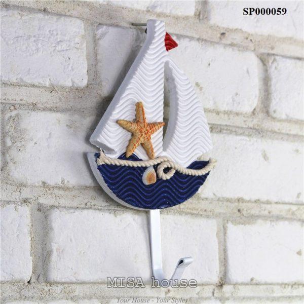 Móc treo đồ trang trí phong cách biển đẹp độc đáo hình thuyền biển