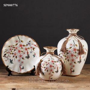 Bình hoa sơn trà bướm xuân siêu đẹp trang trí - quà tặng tân gia đẹp sang trọng