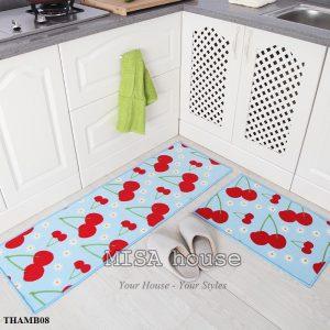Bộ thảm bếp đẹp trang trí xanh hình trái cherry đỏ nổi bật
