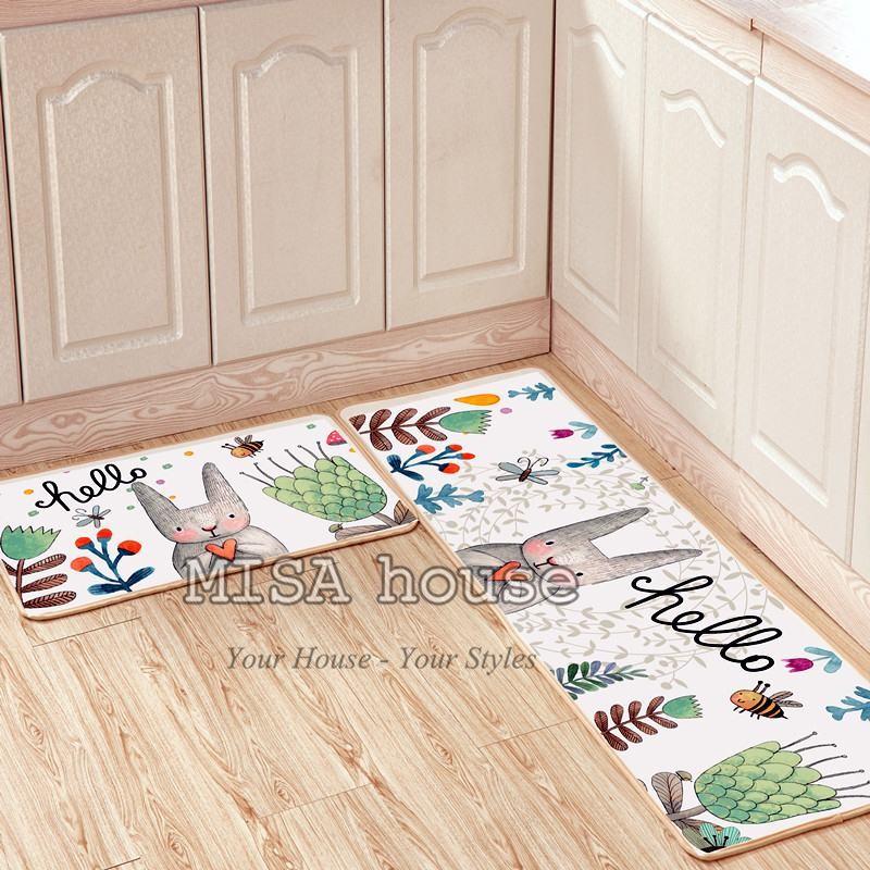 Bộ thảm bếp đẹp trang trí thỏ Hello